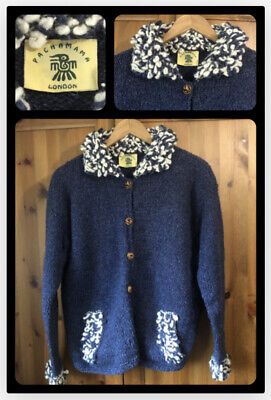 PACHAMAMA : Artisan Hand Knit Chunky Navy Wool Mix Cardigan : Large U.K. 14/16 • 10£
