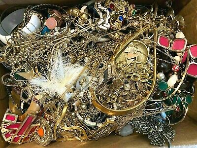 $ CDN84.58 • Buy 7 Pounds Huge Lot Jewelry Vintage Now Junk Craft Box FULL Brooch Necklace MORE