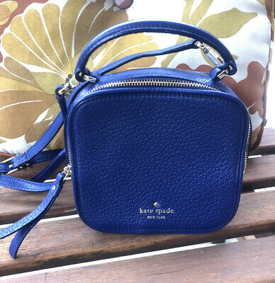 $ CDN68.90 • Buy KATE SPADE Square Satchel Cecil Court Bobi Blue Leather Purse Crossbody Bag