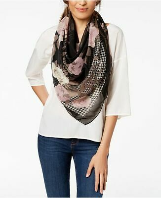 £10.62 • Buy INC International Concepts Houndstooth Floral Women's Square Scarf - BLACK