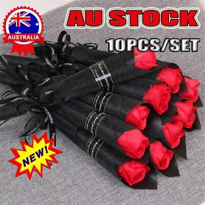 AU14.96 • Buy 10PCS/lot Soap Rose Artificial Flower For Girlfriend Valentine's Day Gift Love