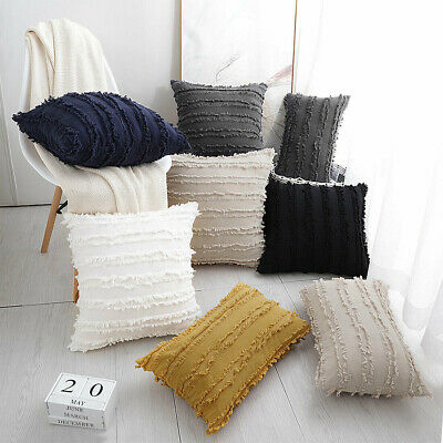 UK Cotton Linen Tassel Pillow Case Pillow Cover Sofa Cushion Cover Home Decor • 4.99£