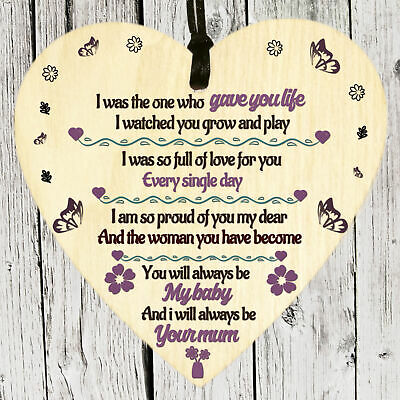 £3.49 • Buy Love Daughter Birthday Gifts From Mummy Mother Wooden Heart Plaque Sign Keepsake