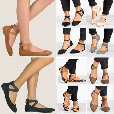 £10.69 • Buy Womens Ballerina Ballet Dolly Pumps Flat Sandals Ladies Ankle Strap Shoes Sizes
