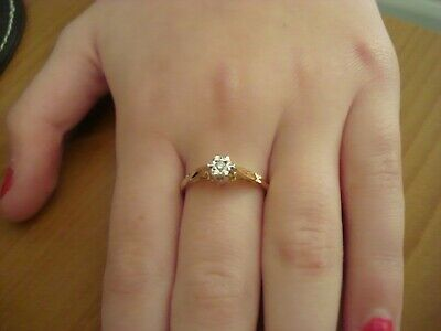 Lovely Genuine Diamond Solitaire Ring In 9ct Yellow Gold Size M 1/2  Stunning • 69.99£
