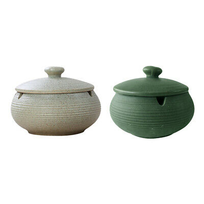 2pcs Ceramic Ashtray With Lid Round Cigar Ashtray With Water Tank Birthday Gifts • 22.43£