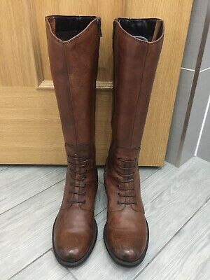 Ladies Tan Brown Leather Clarks Mullin Clove Riding Style Boots, Uk 4.5 • 25£