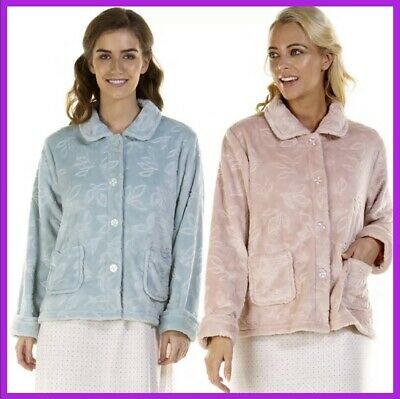 Ladies Embossed Short Bed Jackets By La Marquise Colours:Aqua/Pink Size S To XXL • 15.99£
