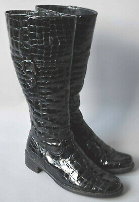 Ladies Gabor Black Patent Leather Moc Croc Knee High Boots Size UK 5 • 13.38£