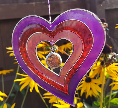 £7.99 • Buy Purple Red Heart Sun Catcher Mobile Stained Glass Effect Garden Decor Gifts