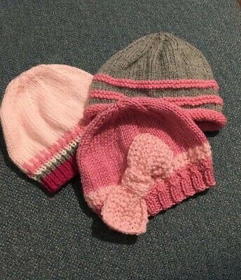 3 X Baby Girl Hand Knitted Hats Brand New Age 0-3 Months Approx • 0.99£