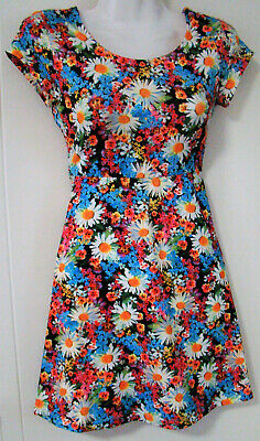 AU3.99 • Buy  Mango  Multi-coloured Dress - Floral Design - Mini - Cap Sleeve - Size 10