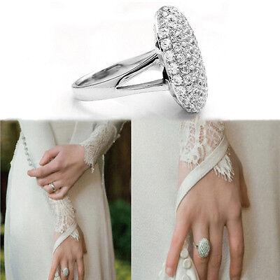 1x Lady Wedding Rings Engagement Ring Silver Crystal Jewelry Size BeSJUKL Q0E • 4.47£