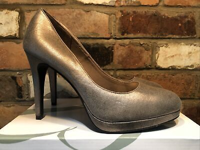 Quality Fioni Ladies Platform Pewter Gold High Heal Shoes Size Uk 10 • 18.50£