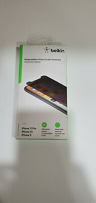 AU25.75 • Buy Belkin-SCREENFORCE Tempered Glass Privacy Screen Protector IPhone 11Pro/Xs/X NEW