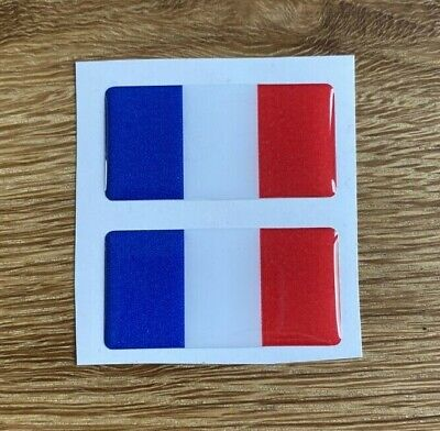 French Flag 3D Gel Domed Sticker France Domed Sticker Flag Car Decal 50x25mm X2 • 3£