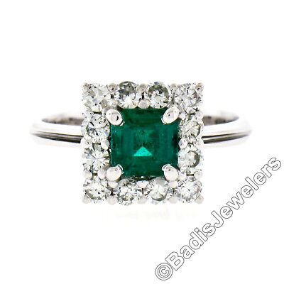 Vintage 18k White Gold 1.51ctw Colombian Emerald Solitaire & Diamond Halo Ring • 1,242.73£