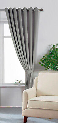 £34.50 • Buy Extra Long 285cm Drop Eyelet Window / Door Curtain Grey Blackout Soft To Touch