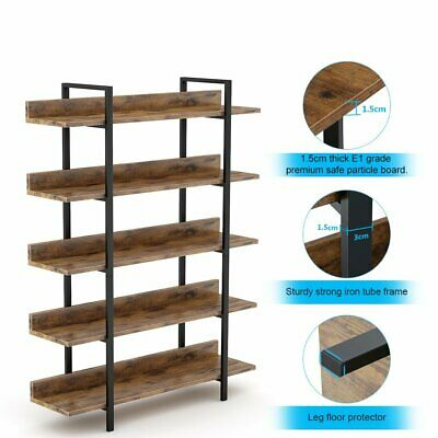 Industrial Bookshelf With Back Fence Multiple Display Shelves For Home Office UK • 97.85£
