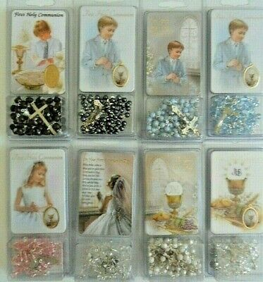 Rosary Beads For 1st Holy Communion With Laminated Prayer Cards In Gift Sleeve • 4.69£