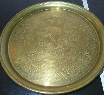 ANTIQUE VINTAGE Middle East Oriental Engraved Solid BRASS Coffee TABLE Tray 14  • 24.95£