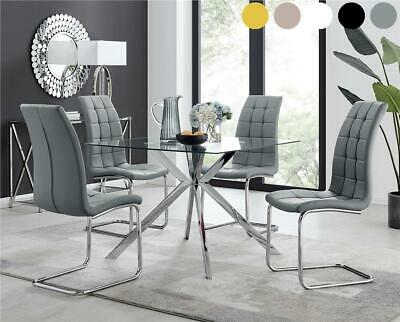 Lazio Glass And Chrome Metal Leg Modern Square Dining Table And 4 Chairs • 154.99£