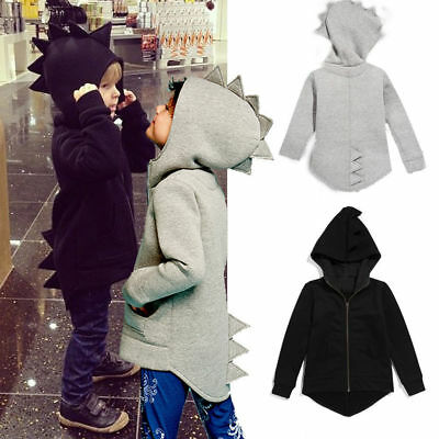 Kids Boy Girl Dinosaur Hooded Zip Up Jacket Hoodies Coat Clothes Outwear Outfits • 9.68£