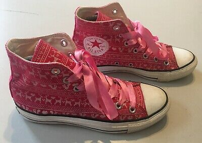 Converse Trainers Pink Hi Tops With Love Hearts - Squirrels And Deer Size 5 • 8.95£