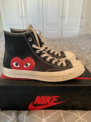 Converse X Commes Des Garcon All Star Chuck Taylor Hi Tops 70s CDG Black Size 10 • 65£