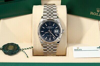 $ CDN13259.19 • Buy Rolex Datejust 36 Blue Index Fluted Jubilee 2021 Box/Papers/Card 126234