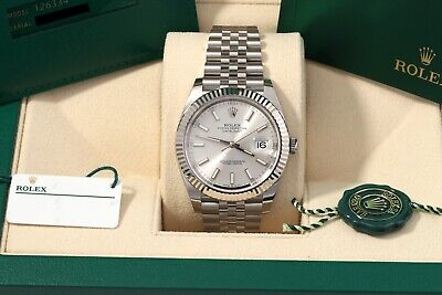 $ CDN14206.37 • Buy Rolex Datejust 41 Silver Index Fluted Jubilee New Card/Box/Papers 126334