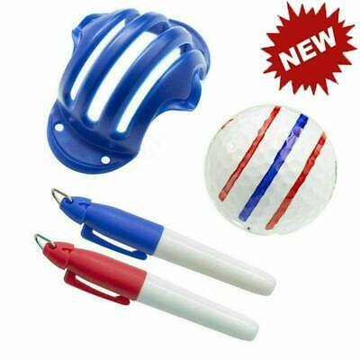 £3.19 • Buy Golf Ball Triple Track 3 Line Marker Stencil Line Drawing Device & 2 Pen Hot
