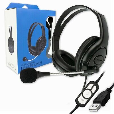USB WIRED COMPUTER HEADSET With STEREO MICROPHONE | BUSINESS ZOOM SKYPE PC CHAT • 14.95£