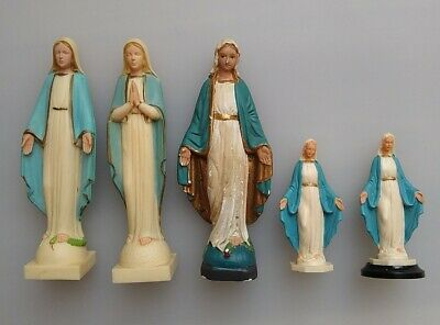 Vintage Hand Painted Virgin Mary Figurines Catholic Devotional Objects Art Kitch • 7.99£