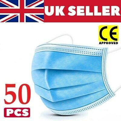 -50 X 3 PLY DISPOSABLE FACE MASK - NON SURGICAL BREATHABLE MOUTH GUARD COVER UK • 3.99£