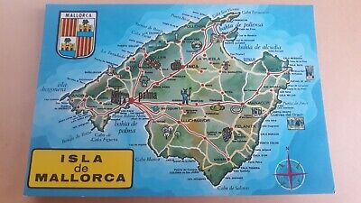 Postcard Map Of Isla De Mallorca Map Card Spain Postcard  • 0.99£