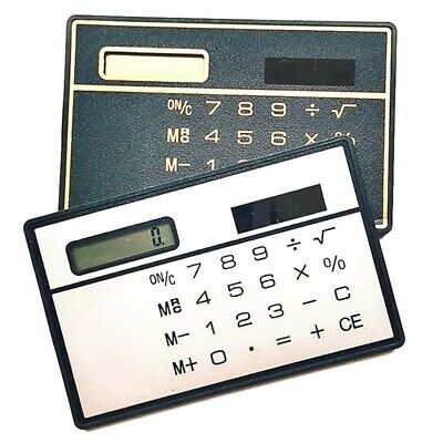 Ultra Thin Mini Portable Digits Credit Card Sized Solar Power Pocket Calculators • 5.99£