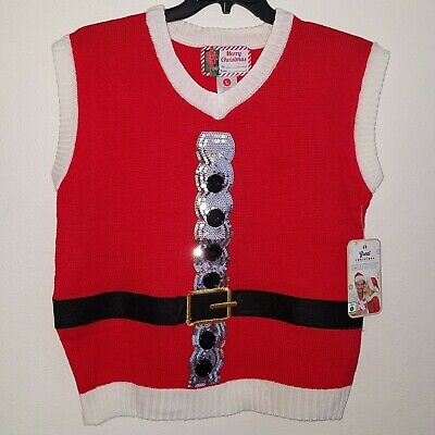 $29.95 • Buy NWT Great Christmas Sweater Vest Santa Suit Red White Silver Sequins Men's Large