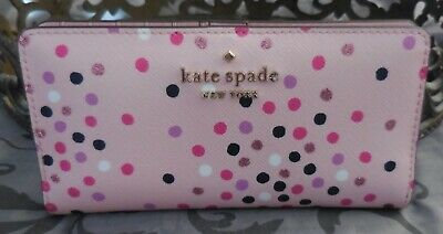 $ CDN76.49 • Buy Kate Spade ~STACI Festive Confetti Large Slim Bifold Wallet ~PINK~ NWT  $149