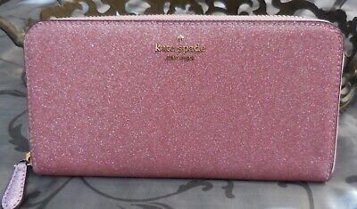 $ CDN102.01 • Buy Kate Spade ~Lola Glitter Large Continental Zip Around Wallet ~ROSE PINK~NWT $229