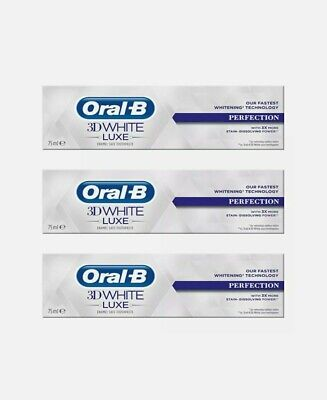 View Details 3x Oral-B 3D White Luxe Perfection Mint Toothpaste Whitening Enamel Protect 75ml • 10.99£