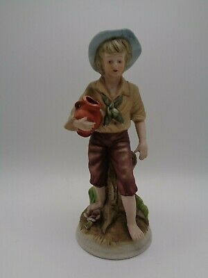 Vintage Bisque Figure - Boy Carrying Water • 2.50£