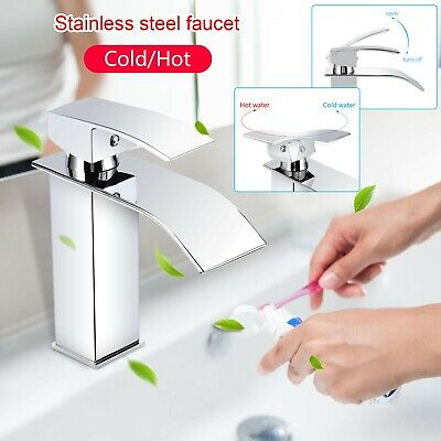 Waterfall Bathroom Square Taps Basin Mixer Tap Counter Top Brass Faucet Chrome • 23.99£