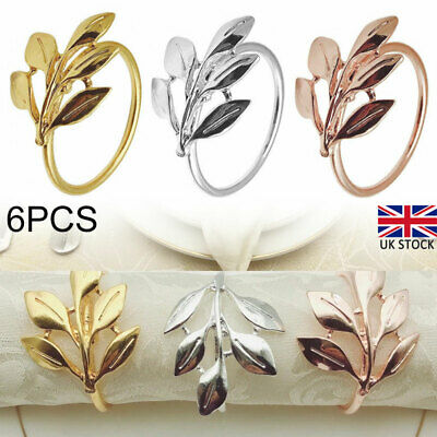 £8.09 • Buy 6X Napkin Rings Leaves Shaped Holders Buckles Party Table Napkin Decoration New