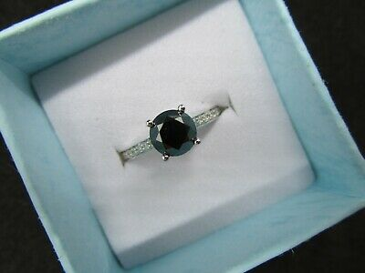 AU1200 • Buy New 1.29ct Black Diamond And Diamond-14K White Gold Ring With Valuation $4970