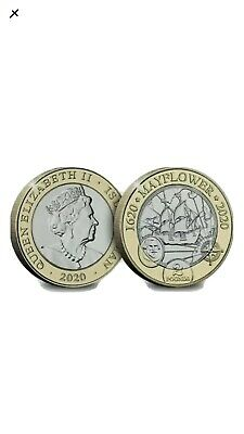 2020 Isle Of Man IOM Mayflower £2 Two Pound Coin - Uncirculated • 18£