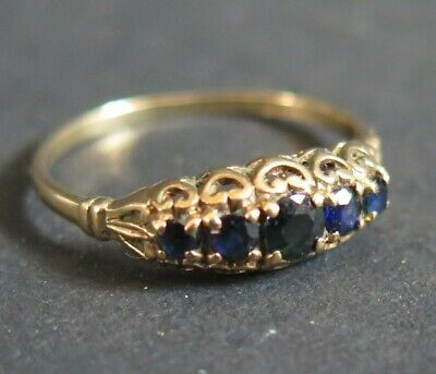 Beautiful Gypsy Set Sapphire And9ct Gold Ring, Size M 1/2 • 100£