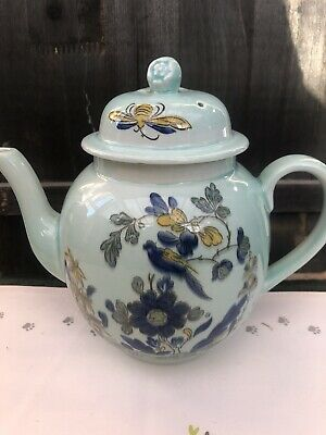 Vintage Adams Calyx Ware Blue Parrot Teapot, Oriental Pattern, English Ironstone • 28.99£
