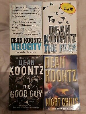 Dean Koontz X4 Standalone Books: The Good Guy, Night Chills, The Face & Velocity • 5£
