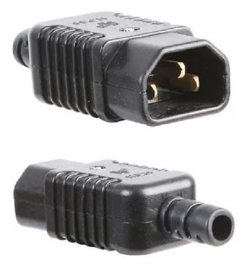 Rewireable IEC C14 Plug 3 Pin Male Mains Power Kettle Connector 10A Screw Termin • 2.99£